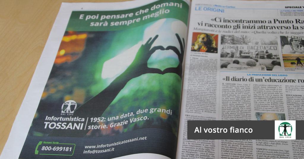 Infortunistica Tossani - Resto del Carlino - Vasco Rossi - concerto Modena Park
