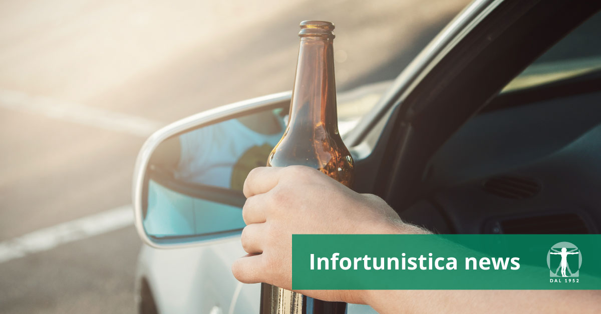 Uomo al volante con birra in mano, Infortunistica Tossani