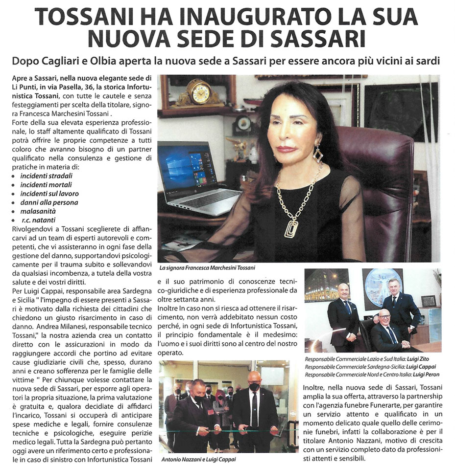 Tossani inaugura la nuova sede a Sassari - Li Punti.